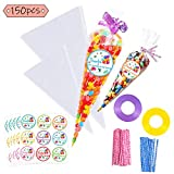 Jatidne 150pcs Clear Cellophane Bags Cone Treat Bags for Popcorn Candy Bags Triangle Plastic Party Gift Bags with Ties, Stickers, Ribbons (2 Sizes for Options