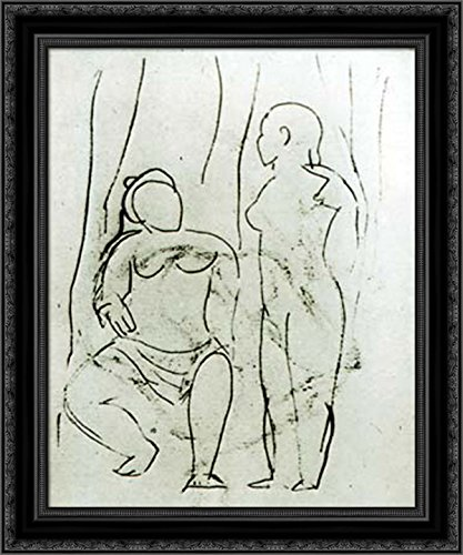 Seated nude and standing nude 20x24 Black Ornate Wood Framed Canvas Art by Picasso, Pablo