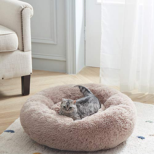 SUNSTYLE Soft Plush Round Pet Bed for Cats Or Small Dogs Cat Bed Self Warming Autumn Winter Indoor Sleeping Cozy Pet Bed for Small Dogs and Cats Donut Anti Slip Bottom (S(20″x20″), Brown)