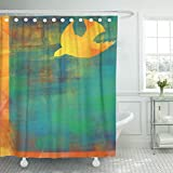 TOMPOP Shower Curtain Christian Holy Spirit Pentecost Confirmation Symbol with Dove Abstract Modern Religious Digital Church Waterproof Polyester Fabric 60 x 72 Inches Set with Hooks