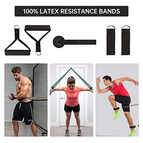 MENNYO Fitnessband Resistance Bands Widerstandsband 5 Set Gummiband Fitness Gymnastikband mit, 2 Griffen,1 Türanker, 2 Fußschlaufen,1 Tragebeutel Ideal für Krafttraining, Physiotherapie, Heimtraining