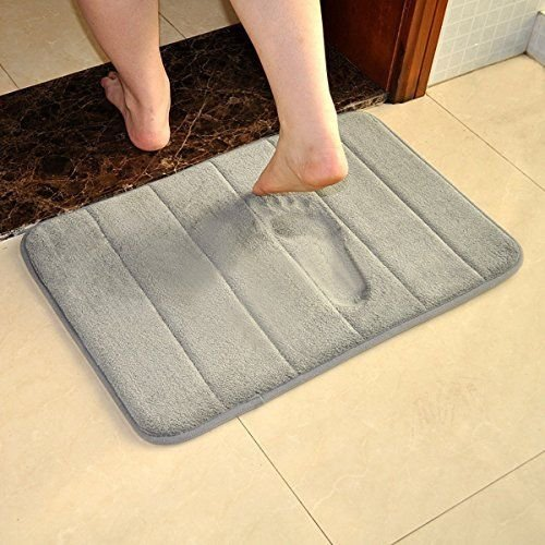 VANRA Bath Mat Bath Rugs Anti-slip Bath Mats Anti-bacterial Non-slip Bathroom Mat Soft Bathmat Bathroom Carpet for Baby Kids Safety with Memory Foam Coral Velvet Fabric 15.7