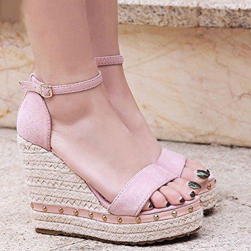 Tobillo de Verano Plataforma Ocasionales Correa del señoras Las de Las de Rosa Mujeres la de Zapatos Sandalias Altos Tacones de Sandalias wSH7YAqq