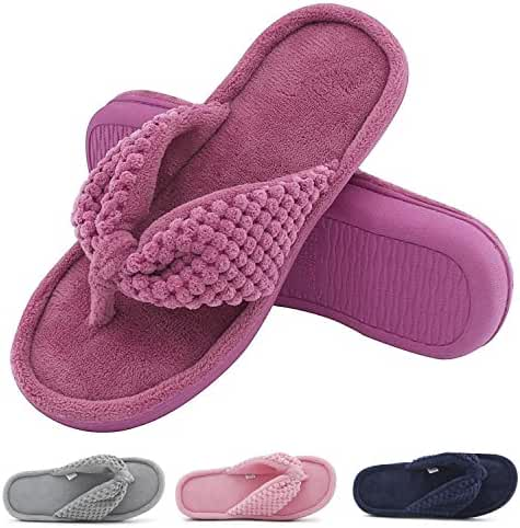 Women's Cozy Memory Foam Plush Gridding Velvet Lining Spa Thong Flip Flops Clog Style House Indoor Slippers