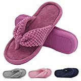 Women's Cozy Memory Foam Plush Gridding Velvet Lining Spa Thong Flip Flops Clog Style House Indoor Slippers (Small / 5-6 B(M) US, Purple)