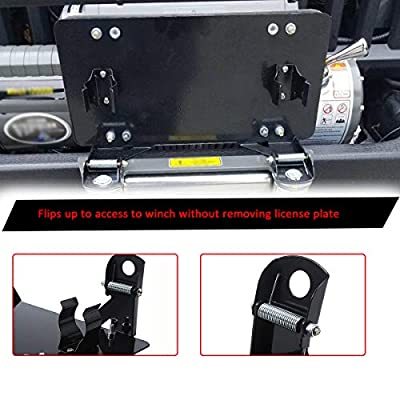 Samlight License Plate Bracket 8 3/4 Inch Flip-Up Winch Roller Fairlead Mount Holder Black Stainless Steel: Automotive