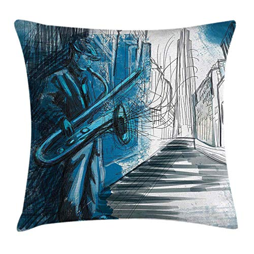 Abaysto Music Saxophone Man Playing Solo in The Street at Night Vibes Grunge Home Decor Dark Blue Black White Linen Throw Pillow Cases Cushion Case Size 18x18 Inches Personalized Customize