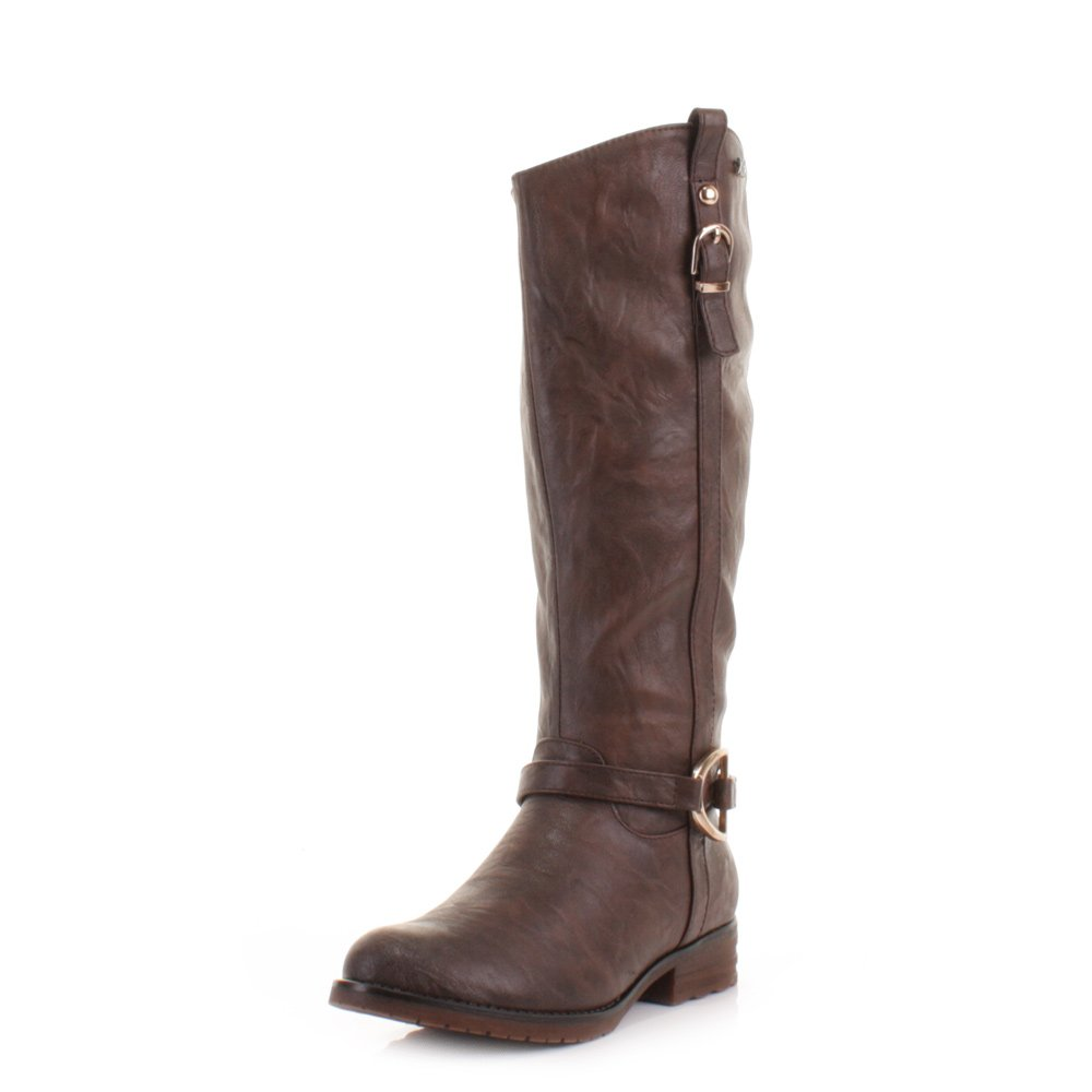 683fd5004f3 Womens Xti Flat Brown Riding Knee High Boots SIZE 2  Amazon.co.uk  Shoes    Bags