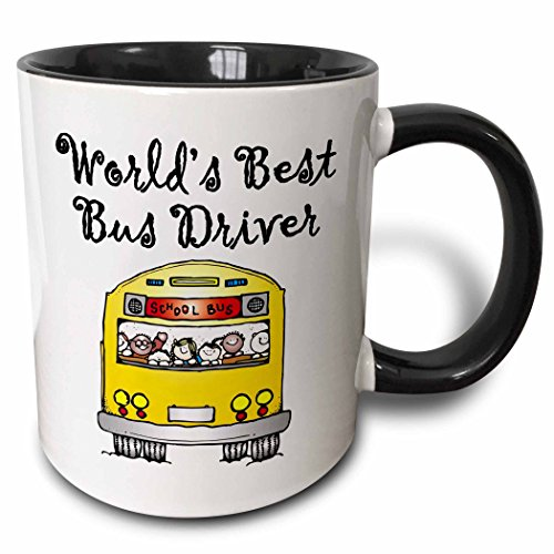 3dRose Worlds Best Bus Driver. - Two Tone Black Mug, 11oz (mug_193351_4), 11 oz, Black/White