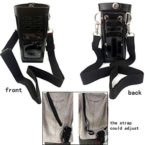 Black Hard Leather Carrying Holder Holster Case with Adjusta