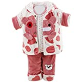 Tangda Baby Girls Infant Snuggly Cartoon Bear Flannel Winter Clothes Set Warm Tops and Pants and Vest Snowsuit Size S - Red