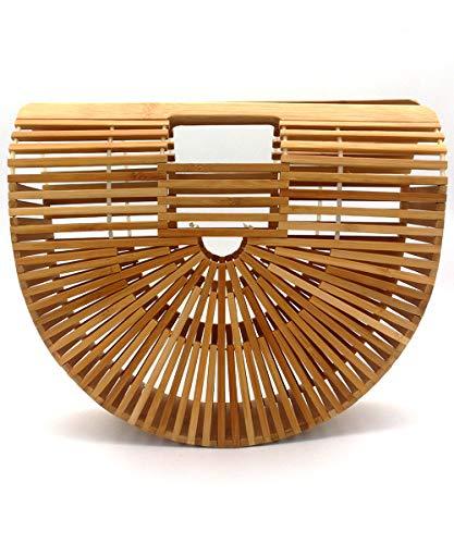 Bamboo Bags for Women, Womens Bamboo Handbag Handmade Large Tote Bag Bamboo Wooden Basket Natural Bags Purse for Summer Beach Sea Vacation Ladies Women B51819 (L, Bamboo)