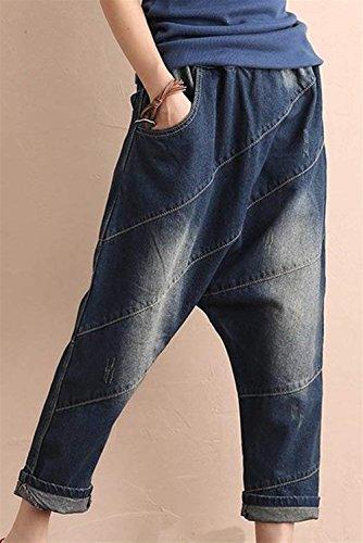Largas Harem Tendencia Fashion Otoño Pantalones Mujer Blau Vaqueros Anchos Casual Pantalones Primavera Elegantes HaiDean Pluderhose Modernas qcxW8tTawn