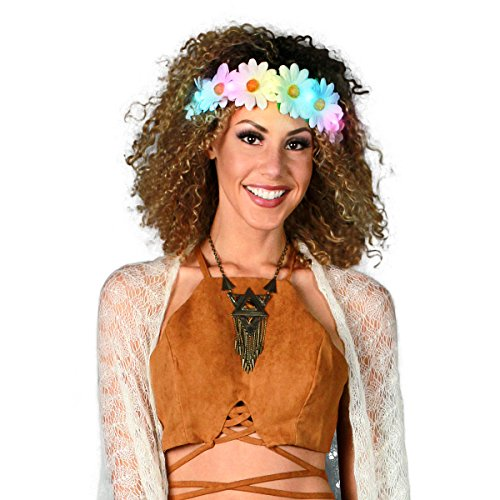 FlashingBlinkyLights Light Up White Daisy Chain with Multicolor LED Lights- Use as a Flower Crown Headband, Floral Sash or Belt