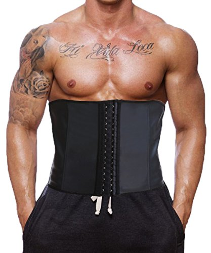 GainKee Latex Men Waist Trainer Corsets With Steel Bone Sweat Sauna Suit For Fitness (4X-Large) - Waist Trainers 4x