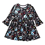 SRYSHKR-Beauty Baptism Gifts for Baby Girl,Baby Kids Girls Long Sleeve Skull Cartoon Printed Halloween Princess Dress Black