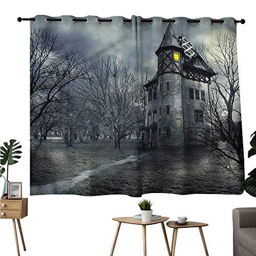 Beihai1Sun Print Darkening Curtains Grommet Curtain Door Panel Halloween,Gothic Haunted House Privacy Assured Window Treatment W55 x L39 ()