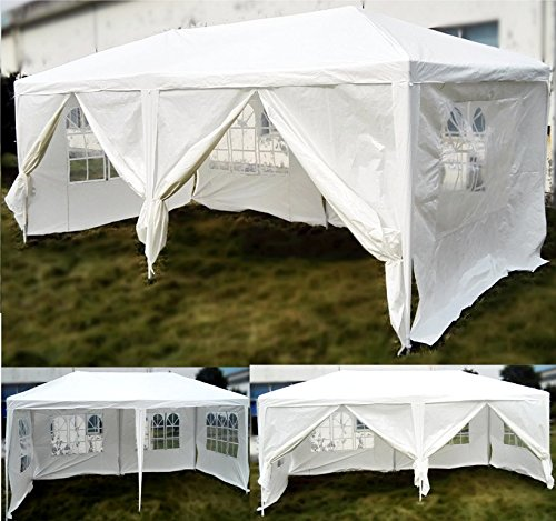 PROGEN NEW WHITE WATERPROOF OUTDOOR GARDEN GAZEBO PARTY TENT 3M X 6M MARQUEE CANOPY