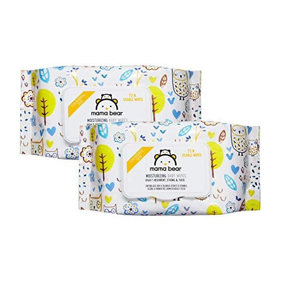 Amazon Brand - Mama Bear Wet Wipes (Pack of 2, 72 Sheets per Pack)