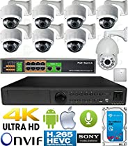 USG 3MP 8 Camera H.265 HD PoE IP CCTV Kit : 1x 24 Channel Ultra 4K NVR + 7x DOME Cameras + 1x Sony DSP 3MP IP PTZ Camera + 1x PoE Switch + 1x 4TB HDD + 2x Microphones: FREE Phone App : 3 YEAR WARRANTY