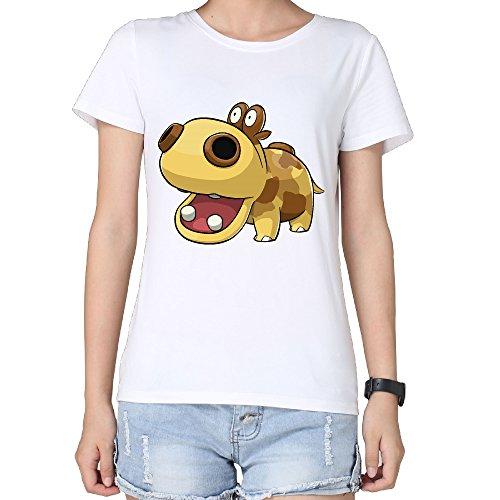 Ladies Cute Cartoon Hippo Hippopotamus Fashion Tee Shirt - Mtm Fashion