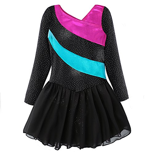 Kidsparadisy leotard girls black dance dress gymnastic skirt dance leotard christmas dress holiday outfit (150(10-11Y), Black-hotpink) (For Christmas Dance Outfits)
