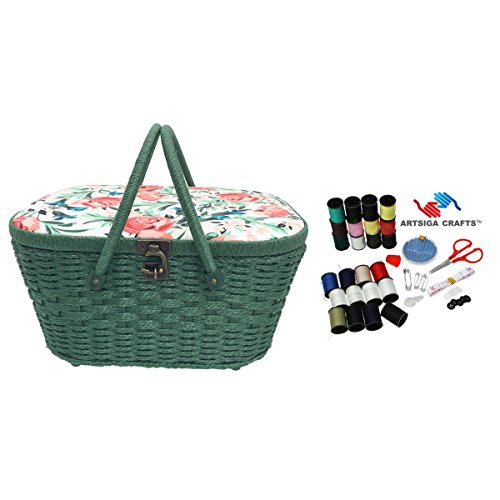 Review Dritz Sewing Basket Large Picnic (14″ L x 10″ W x 7″ H) Floral in Green, Blue & Rose + Artsiga Crafts Sewing Kit