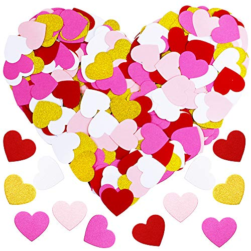 Supla 250 Pcs 5 Colors Gold Glitter Paper Confetti Hearts Confetti Double-Sided Red Pink White Hearts Confetti Table Confetti Party Confetti for Valentine's Decor Wedding Anniversary Baby Bridal Shower Decor