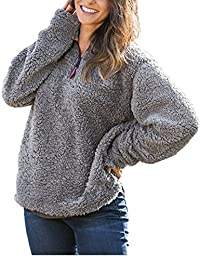 Women Plush Sweater Half Zip Loose Fleece Casual Sherpa Sweaters Pullover
