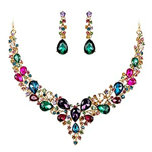 BriLove Women's Wedding Bridal Austrian Crystal Teardrop Cluster Statement Necklace Dangle Earrings Jewelry Set