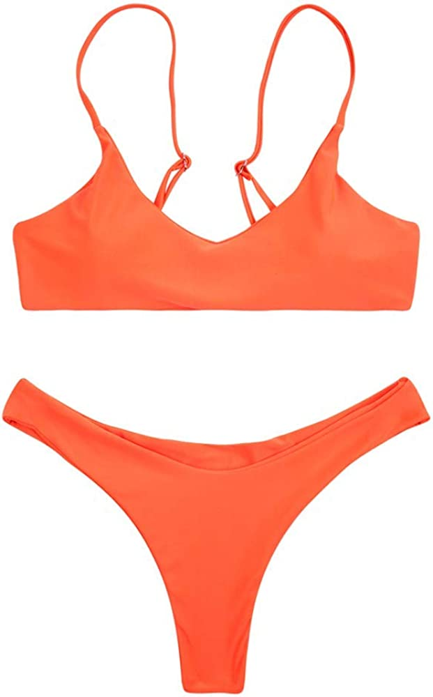 SherryDC Womens Solid Scoop Neck Push up Padded Brazilian Thong Bikini Swimsuit