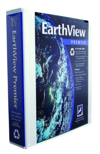 Aurora GB EarthView Premier Binder, 1 1/2 Inch Round Ring, 8 1/2 x 11 Inch Size, White, Linen Embossed, Eco-Friendly, Recyclable, Made in USA (AUA09248)