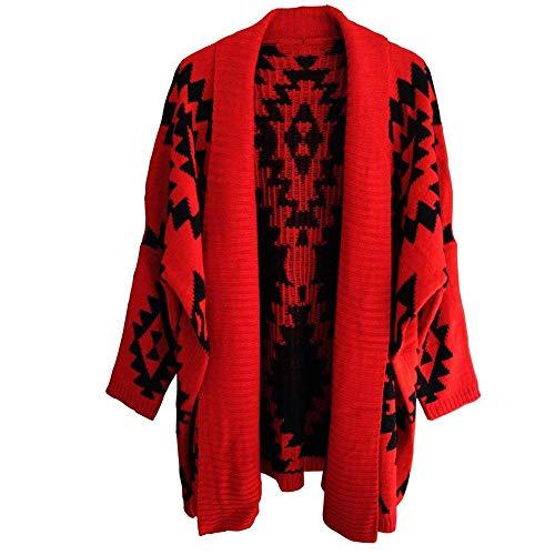 Casual Pattern Pullover Glamorous Lunghe A Maglia Donna Semplice Caldo Cappotto Vintage Giacca Maniche Geometrico Outerwear Rot Sciolto IyOUwqpCq