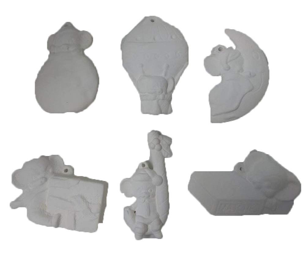 Mouse Christmas Asst #5 Set of 6 Ready to Paint Ceramic Bisque