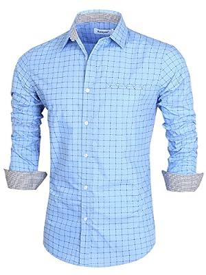 Emiqude Mens Casual Slim Fit Long Sleeve Fake Pocket Contrast Plaid Dress Shirt
