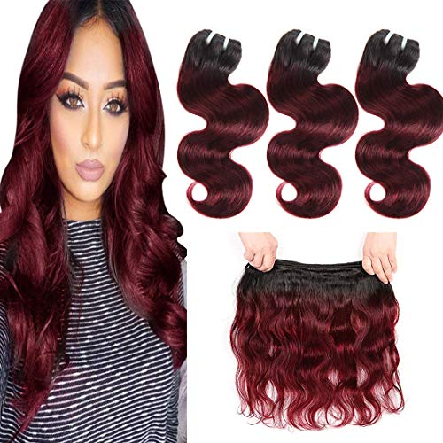 - Bk Beckoning Ombre Brazilian Body Wave - 10 12 14 Inches 50g/Piece Burgundy Bundles Human Hair 1b 99j Wine Red Virgin Hair Extensions Black Roots Bob Short Hair Weaves for Women