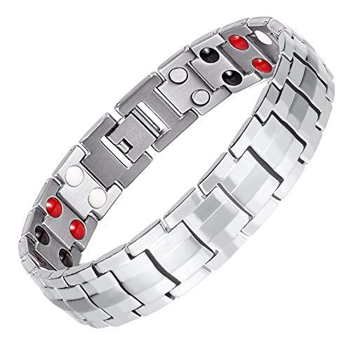 - Lgwj Double Wire 4 in 1 316L Stainless Steel Bio Magnetic Bracelet Men, Metal Heavy Jewelry Bio Energy Titanium Bracelet,Silver