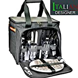 - Extra Large Picnic Basket Backpack - With Cooler 4 Person w/ Plates