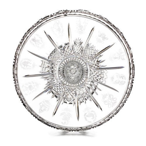 Waterford Crystal Twelve Days of Christmas Footed Cake Plate & Knife - Pie Waterford Server