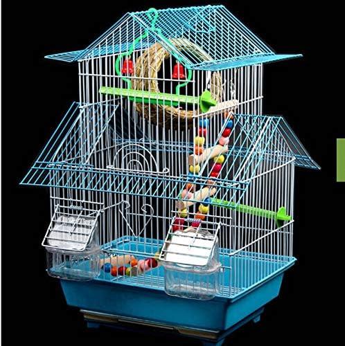 Whz-ZYF 大きな鳥かご装飾巣箱オウムの鉄文化にとって大きなヴィラの鳥かごの鳥ケージ虎皮のオウムケージツグミ 、耐久性 (色 : SET 4 33x26x49cm, サイズ : Green cage)