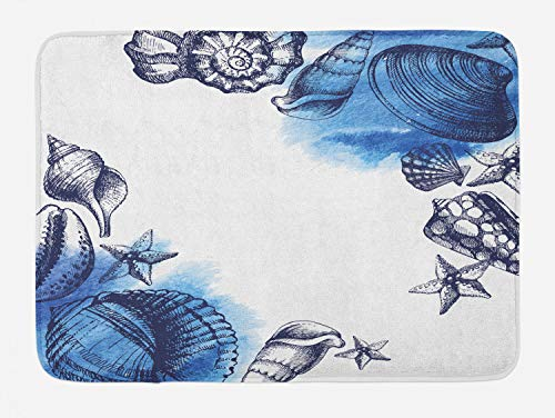 Ambesonne Ocean Bath Mat, Sealife Sea Shells and Sand Stones Deep Water Star Fish Blue Toned Design, Plush Bathroom Decor Mat with Non Slip Backing, 29.5 W X 17.5 L Inches, Navy Blue (Mats & Rugs Bath Fish)