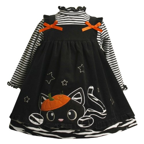Bonnie Jean Baby/INFANT 12M-24M 2-Piece BLACK WHITE 'Halloween Pumpkin-Hat Cat' CORDUROY JUMPER Girl Dress Outfit/Set