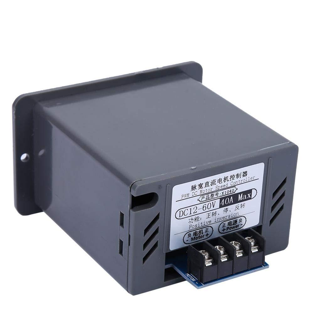 Nitrip DC 12-60V 40A PWM Cepillo Motor Velocidades Controlador CW CCW Interruptor reversible