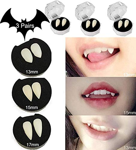 SMYLLS 3 Pairs Vampire Teeth Fangs Dentures Horror False Teeth Cosplay Props Halloween Costume Props Party Favors]()