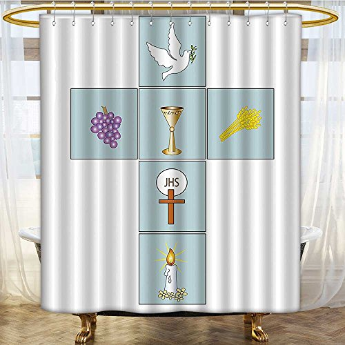 AmaPark Fabric Shower Curtain Baptismal Cross Bible Faith Believing Greeting Welcoming Baptize BasIn Christ Art Mildew Resistant Fabric Shower Curtain 72 x 84 inches - Ring Basin Liner
