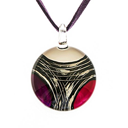 (Chuvora Hand Blown Murano Glass Multi-Colored Red Purple White Abstract Fashion Pendant Necklace, 18-20'')