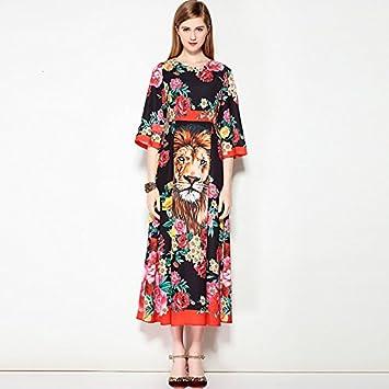JIALELE La mujer una línea Boho vestido - Animal Print florales Maxi,Negro,M