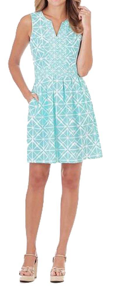 Jude Connally Julie Sleeveless Tank Dress in Graphic Geo Soft Aqua (XS)