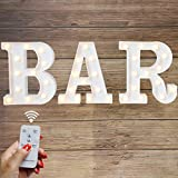 Elnsivo LED Marquee Letters Lights Alphabet Light Up BAR Sign Remote Control Letter Lamp for Wedding Birthday Party Battery Powered Christmas Lamp Home Bar Decoration(BAR-Remote Control)
