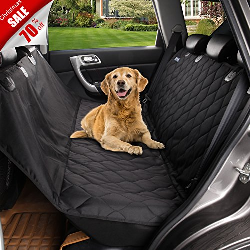 Acrabros Universal Fit Nonslip, Waterproof, Padded, Quilted, Convertible Hammock Dog Car Seat Covers with Extra Side Flaps, Black (Dog Door Fit Quick)